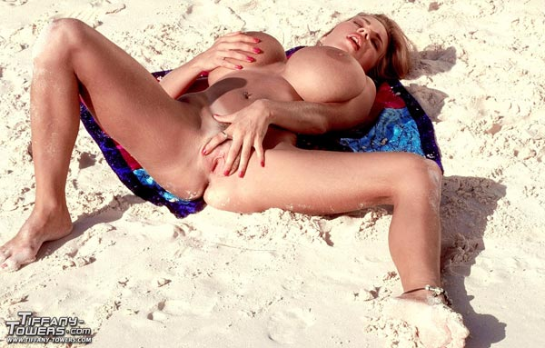 Tempting Tiffany towers naked beach