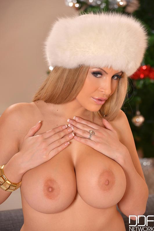 Anastasia Sweet dressed up in a big fluffy white hat and ...