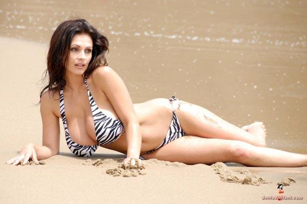denise-milani-bikini-beach-zebra36