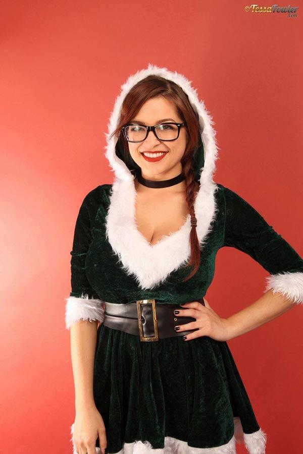 Tessa Fowler in Christmas Velvet - The Boobs Blog