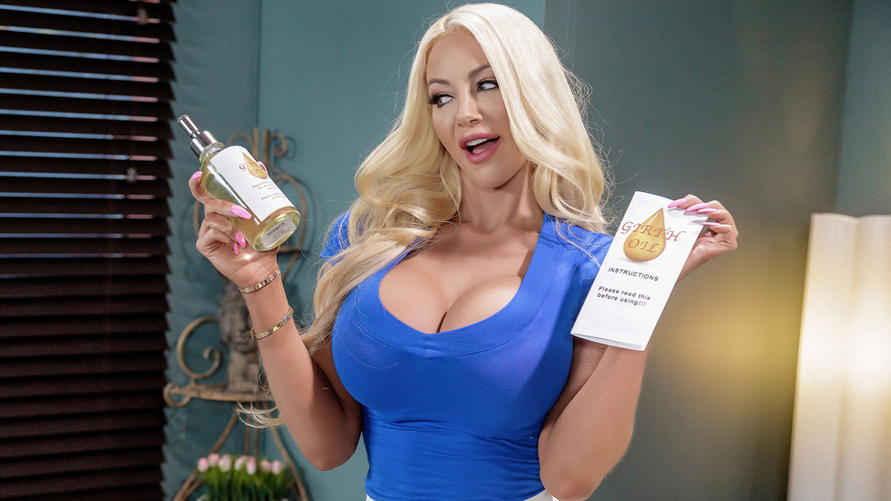 Nicolette Shea Uses Her Huge Fake Tits To Give A Cumshot
