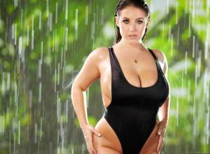 Angela white big tits one piece