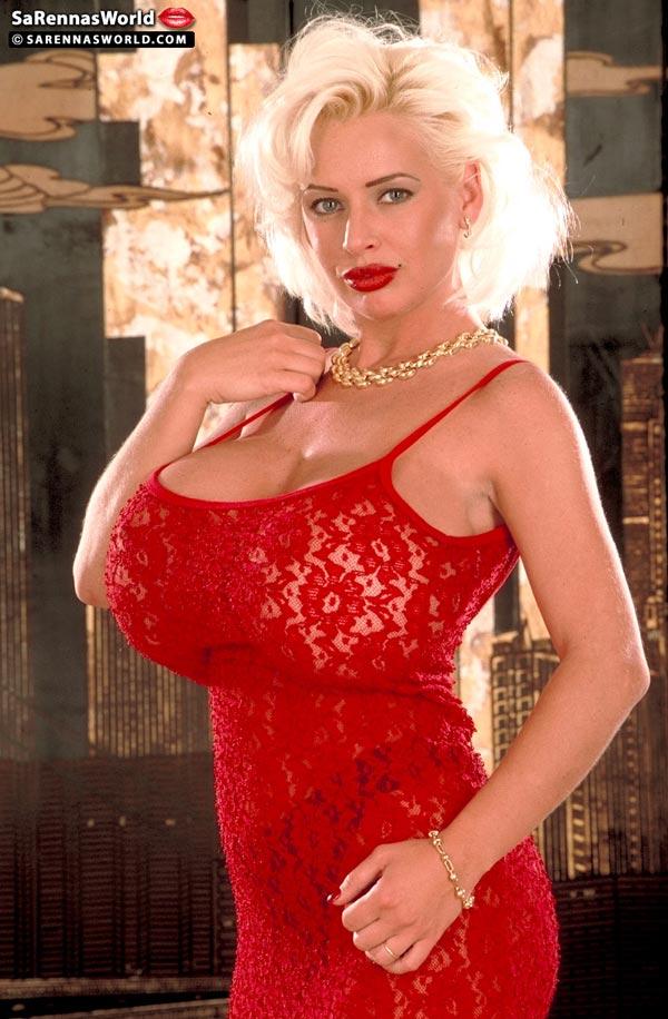 SaRenna Lee glamorous red dress - The Boobs Blog