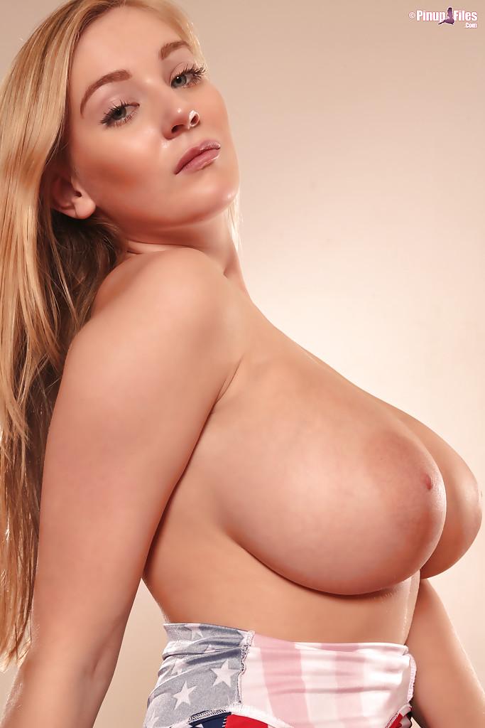 Big Tit Blonde Rides Dildo